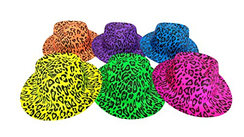 - Party Hats, Neon Color Animal Print Plastic Gangster Fedora Party Hats for Adults, Teens and Kids, by Playscene (24, Animal Print Hat)