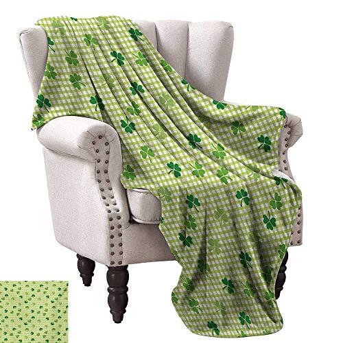 WinfreyDecor Irish Blanket Sheets Retro Classical Checkered Pattern with Cute Green Shamrocks Clovers Garden Plants Sofa Chair 30