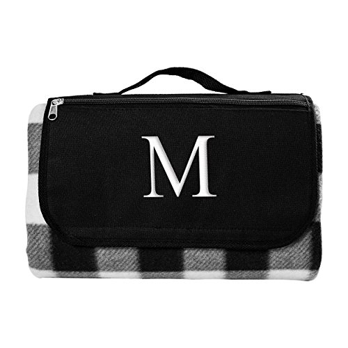 Cathy's Concepts Black & White Plaid Personalized Tailgate Picnic Blanket, Letter (Plaid Tailgate)