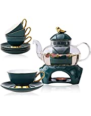 Przezroczysty szklany czajniczek zestaw do herbaty ze zdejmowanym zaparzaczem, zawiera 4 ceramiczne kubki do herbaty i spodki, 1 ceramiczny podgrzewacz podstawy, szklany czajnik do herbaty z sitkiem, kwitnący luźny liść dzbanek do herbaty - bezpieczny na płytę kuchenną