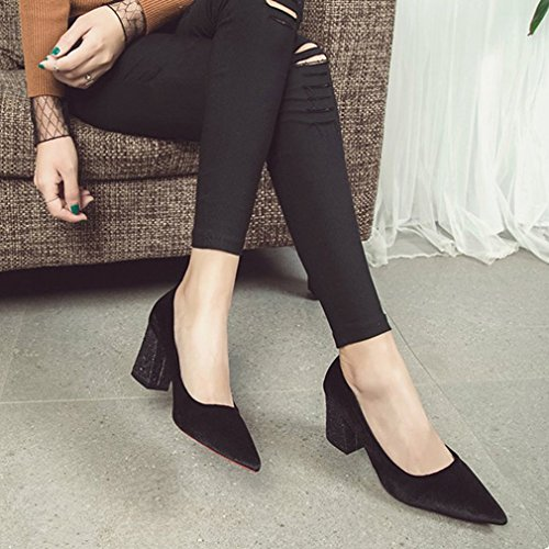 Dames Dames Pumps Pumps Loafers Suède Retro Puntschoen Instapper Blokhak Klassieke Mode Loafer Pump Zwart