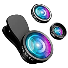 Fisheye Lens, VicTsing 3 in 1 Clip-On 180 Degree iPhone Camera Lens + 0.4X Wide Angle Lens (Wider than 0.65X ) + 10X Macro Lens for iPhone 7 6 5s Samsung Galaxy