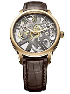 Mens Masterpiece Squelette Rose Gold on Strap with Skeleton Dial MP7138-PG101-030