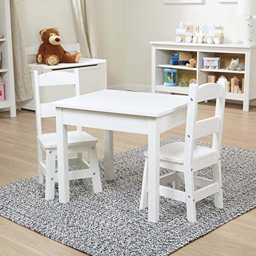 "Melissa & Doug Solid Wood Table & Chairs (Sturdy Wooden Construction, 3-Piece Set, 20"" W x 23.5"" H x 20.5"" L, Great Gift for Girls and Boys - Best for 3, 4, 5, 6, 7 and 8 Year Olds)"