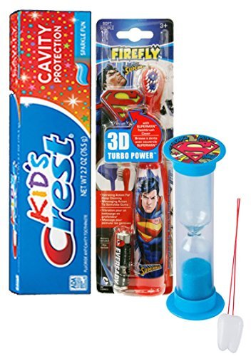 "Super Hero Inspired 4pc Bright Smile Oral Hygiene Set! Superman Turbo Powered Toothbrush, 3D Brush Cap, Brushing Timer & Crest Kids Toothpaste! Plus Bonus ""Remember to Brush"" Visual Aid!"