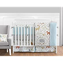 Sweet Jojo Designs 9-Piece Blue, Grey and White Woodland Deer Fox Bear Animal Toile Baby Girl or Boy Crib Bedding Set