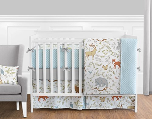 Blue, Grey and White Woodland Deer Fox Bear Animal Toile 9 Piece Baby Girl or Boy Crib Bedding Set - Gender Neutral Baby Bedding