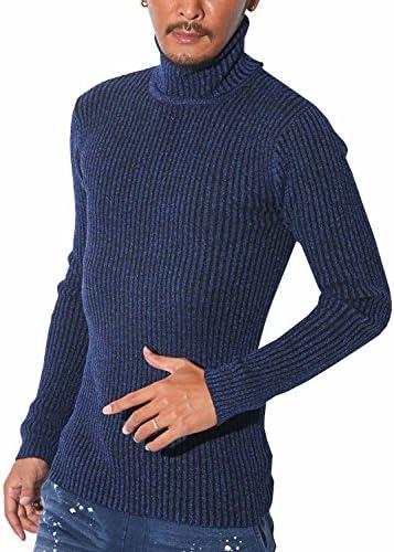 LUX STYLE(ラグスタイル) リブ Vネック ニット メンズ タートルネック セーター テレコ 長袖