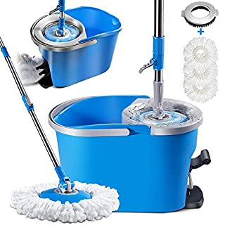 360 Spin Mop and Bucket with Wringer Set with 3 Mop Pads Refills and Cleaning Brush Foot Pedal Mop and Bucket System for Hardwood Laminate Ceramic Marble Tile Floors Cleaning