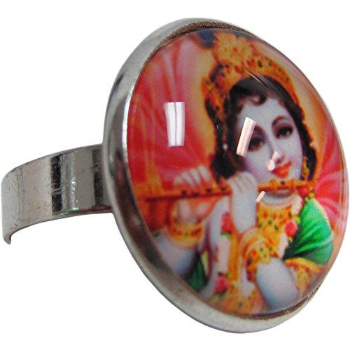 Krishna Dance Costume (Krishna Yoga Meditation Sanskrit Adjustable Fashion White Metal Ring)