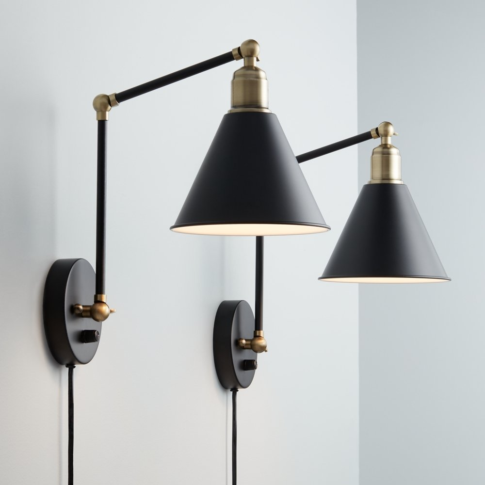 Wray Black and Antique Brass Plug-In Wall Lamp Set of 2 - - Amazon.com