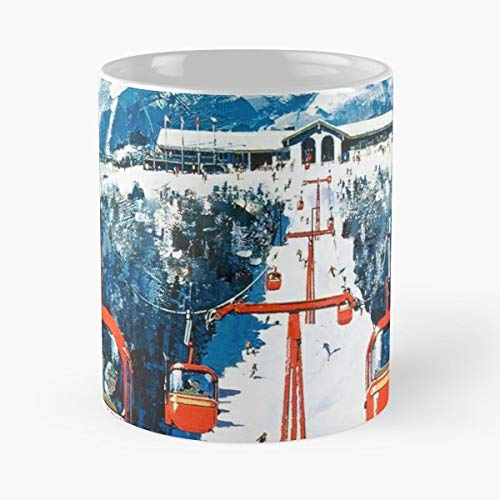 (Vintage Ski Poster Vermont Winter Sports Skiing - Best Gift Ceramic Coffee Mugs 11 Oz)
