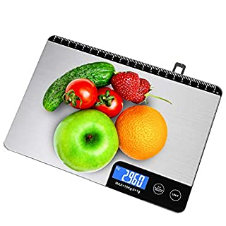 Food Scale,Kitchen Scale Weight Grams and Oz(Accuracy 1g/0.1oz-33lbs Capacity),Professional Digital Kitchen Scale with Touch-Screen LCD Backlit Display(AAA Battery)