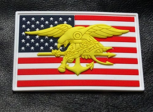 Seal Team Trident - Seals American Flag Marines Trident Seal Team Hook Patch (3D-PVC Rubber)
