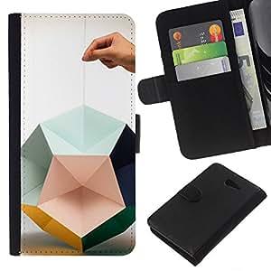 KingStore / Leather Etui en cuir / Sony Xperia M2 / Papel mano del arte Diseño Profundo;