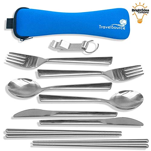 TravelSource – 2-Person Stainless-Steel Camping Eating Utensils Set – Portable Mess Kit + Case with Backpack Hanging Strap, Chopsticks & Bottle Opener