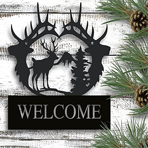 Mofubiepvot Metal Personalized Sign,Deer Sign,Indoor or Outdoor Sign,Wedding Gift,Fathers' Day,Mountain House,Hunter Gift,Housewarming Gift,Metal