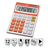 Electronic Desktop Calculator with 12-Digit Large LCD Display, Solar Battery Dual Power Office Calculators by Ebristar - Orange