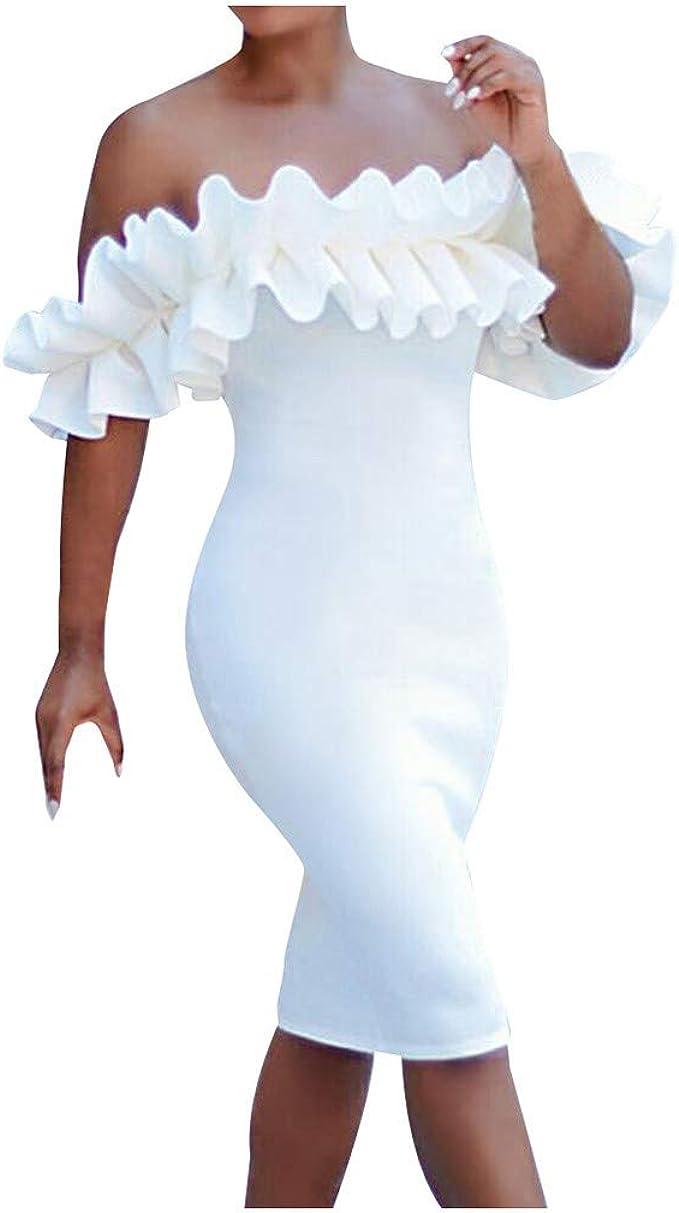 MAYOGO Kleider Damen Weiß Etuikleid A-Linie Volant Kleid Bodycon