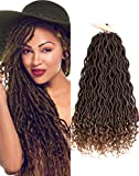 Karida 6Pcs/Lot Curly Faux Locs Crochet Hair Deep Wave Braiding Hair With Curly Ends Crochet Goddess Locs Synthetic Braids Hair Extensions (18inch, 1B-30#)