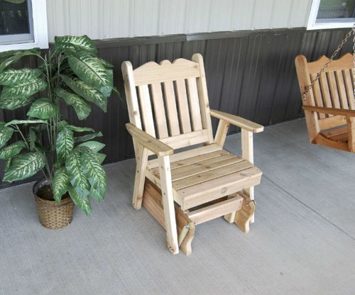 (Cedar Lawn Royal English Glider Chair - STAINED- Amish Made USA -Natural )