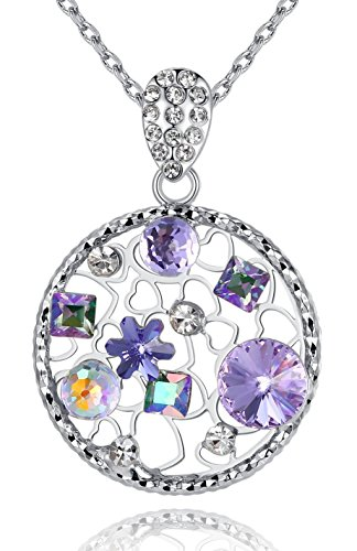 Stone Multi Filigree (Leafael [Presented by Miss New York] Secret Garden Made with Swarovski Crystals Multi-stone Filigree Purple Circle Pedant Necklace, Silver-tone Chain, 19