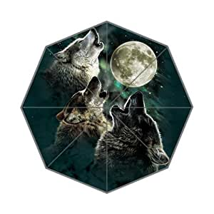 Lucky whale Custom Three Wild Wolf Howling Moon Auto Foldable Sun and Rain Umbrella Anti-UV