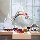 Barometer Storm Glass, Galileo Thermometer for Desk or Tabletop Decor