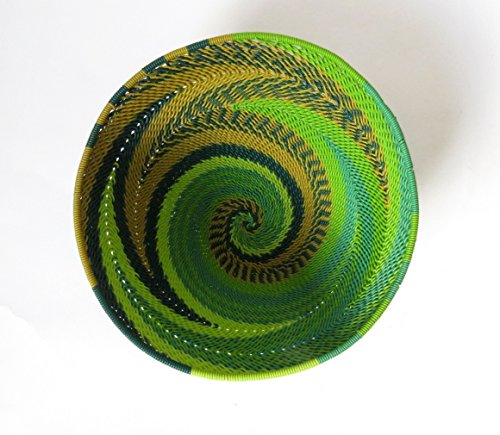 African Zulu woven telephone wire bowl – Small round - Green - Gift from Africa