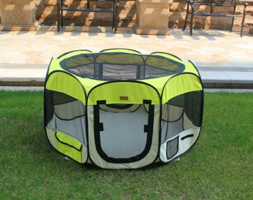 New Large Yellow Pet Dog Cat Tent Playpen Exercise Play Pen Soft Crate Review