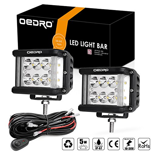 OEDRO Side Shooter LED Lights 2Pcs 4 Inch 60W Dual Row LED Pods Off Road Spot Flood Combo Beam Dual Side Cubes Work Light Driving Fog Lights for Trucks Jeep ATV SUV Boat, With Wiring Harness