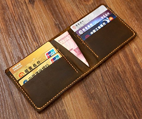 Personalized vintage distressed leather slim bifold wallet / Minimalist mens billfold wallet front pocket wallets – SW005S