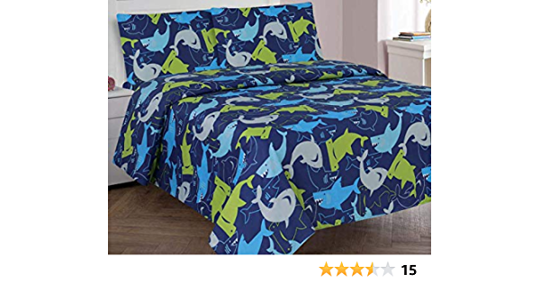 Blue Navy Blue and grey Shark Microfiber Kids Sheets Golden Linens Full 4 pieces Reversible Printed Lime Green