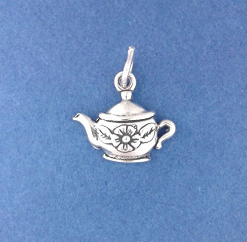 (925 Sterling Silver Tea Pot Charm with Flower Pendant Jewelry Making Supply, Pendant, Charms, Bracelet, DIY Crafting by Wholesale Charms)