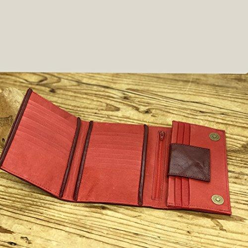 Burgundy Red wallet Handmade Leather purse trifold Women billfold organizer Designers accessories by Leather Bags and Accessories Handmade by Limor Galili