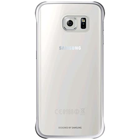 Samsung Slimline Clip-On Hülle Clear View Case Cover für Samsung Galaxy S6 Edge, Metallic silber/transparent
