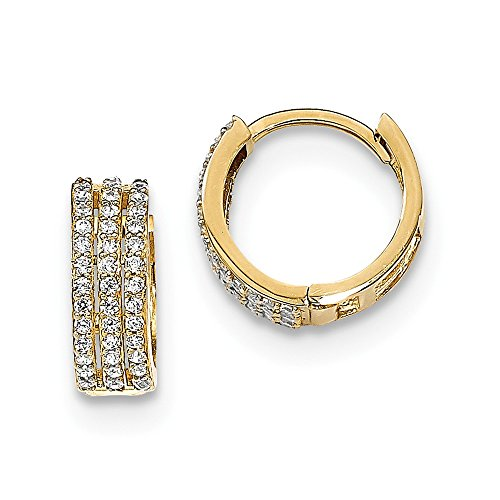 14k Yellow Gold 3 Row Cubic Zirconia Cz Hinged Hoop Earrings Ear Hoops Set Fine Jewelry Gifts For Women For Her
