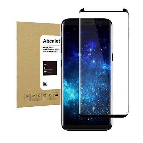Galaxy S8 Plus 3D Curved Tempered Screen Protector,Abcalet [Full Coverage] [Bubble-Free][Anti-Scratch] HD Clear Film Screen Protector for Samsung Galaxy S8 Plus Black