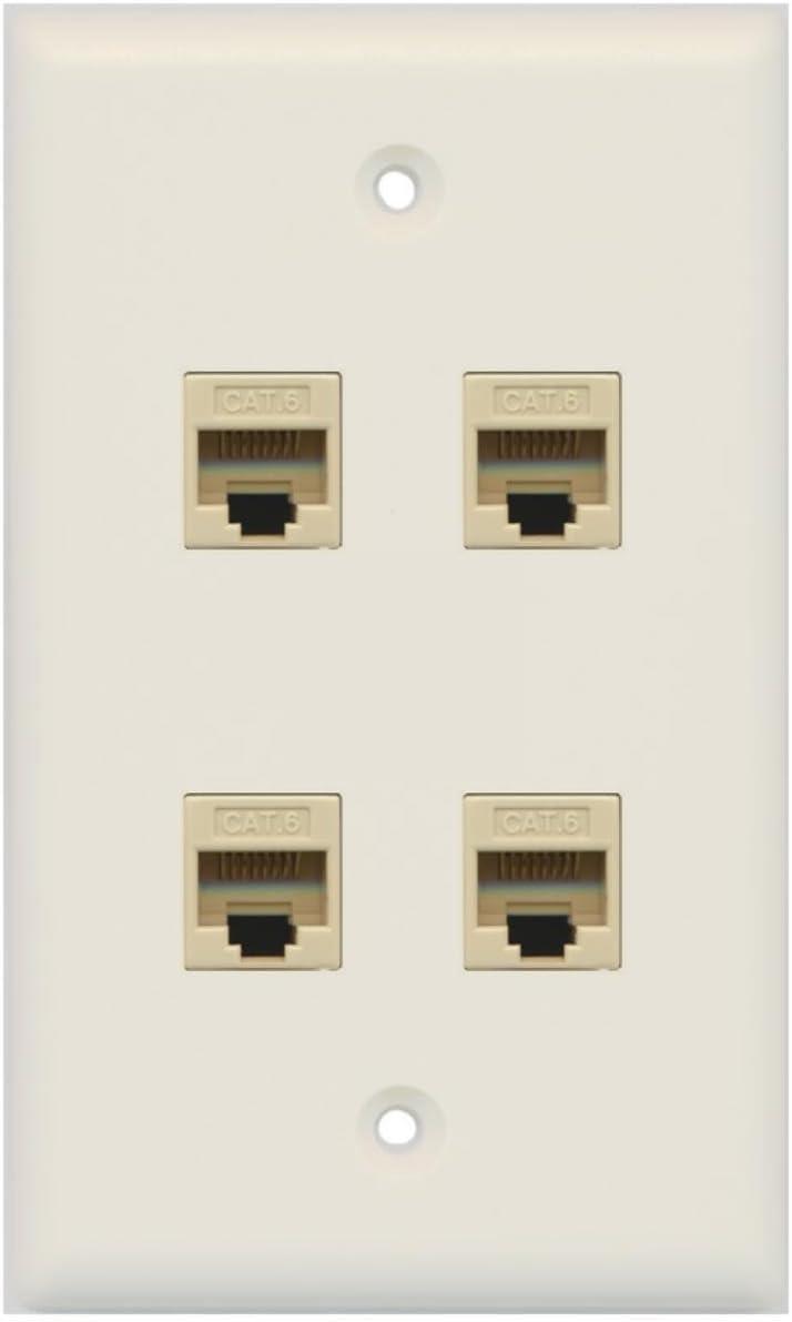 RiteAV 4 Port Cat6 Ethernet Wall Plate Ivory