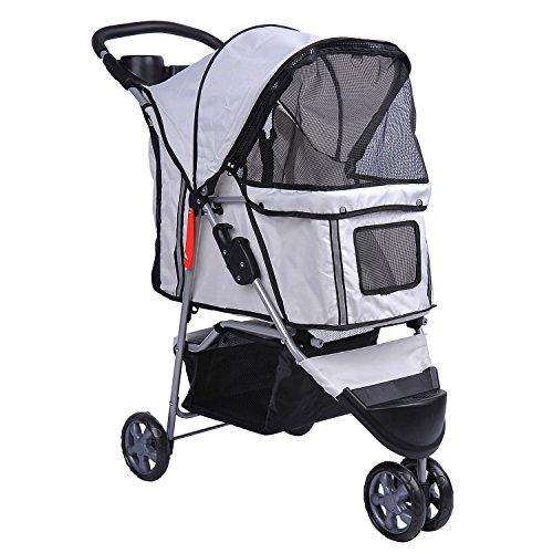 PawHut 5663-0015GR Buggy für Hunde / Katzen Pet Stroller 3 Räder inklusive Becherhalter, grau