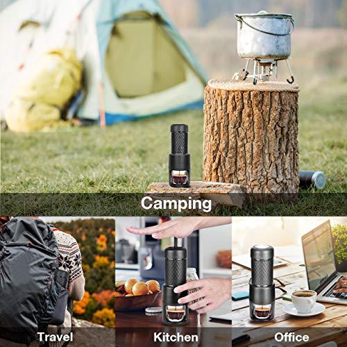 STARESSO Portable Espresso Machine - Manual Espresso for Rich & Thick Crema Mini Espresso Maker Compatible with Nespresso Pods & Ground Coffee Small Hand Espresso Maker for Travel Camping Office