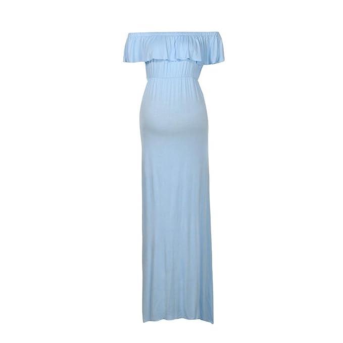 Amphia Vestido Premamá, Mujeres Embarazadas Off Hombro fotografía Accesorios Vestido Largo sólido de enfermería (