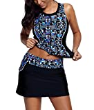 Supplim Women Printed Two Piece Tankini Sets Swimsuits Swimwear Tops With Skirt Black L(12-14)