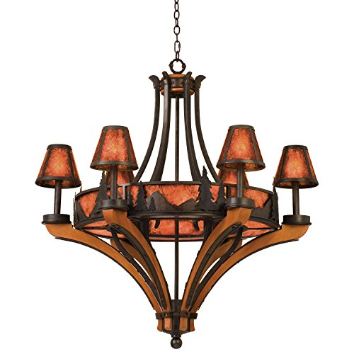 Kalco 5811NI Up Chandeliers with Mica Shades, Natural Iron Finish