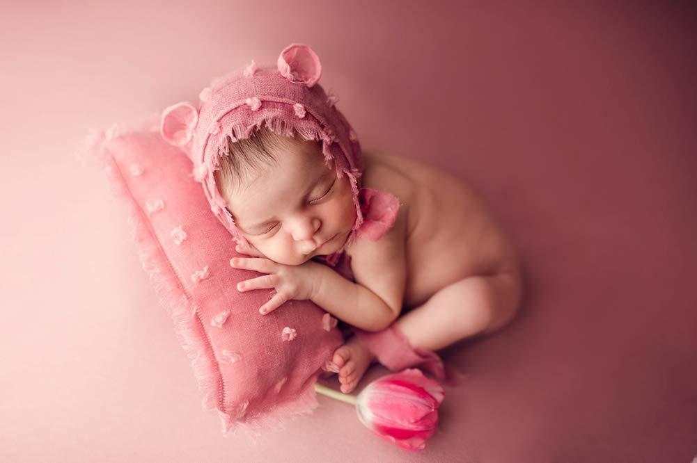 iSpchen Puntelli per Fotografia per Bambini Fatti a Mano per Neonato Foto in Cotone e lino Simpatici Cappelli Set di Piccoli Cuscini Fatti a Mano Grigio Scuro