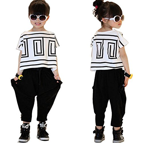 Girls' Summer Fashion Clothing Set Short-Sleeve Top and Black Pants, Multicolored, 7-8 Years/Tag 140 by Haoguagua