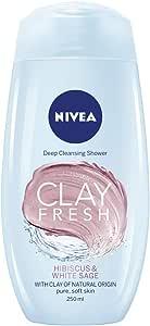 NIVEA Clay Fresh Body Wash, Fresh Hibiscus & White Sage, 250ml