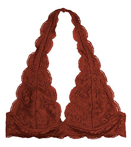 Brown Lace Bras - Wonder St Women's Lace Halter Bralette, Rust, XL/XXL