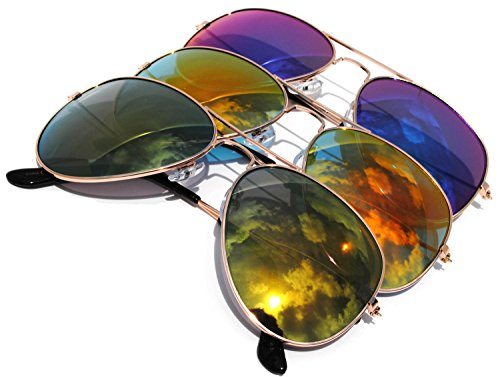 Classic Aviator Sunglasses Mirror Lens Gold Color Frame 3 pairs ()