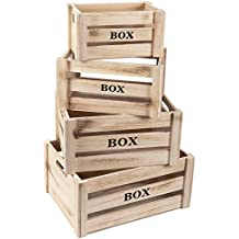 Wooden Crate - 4-Count Rustic Decorative Storage Caddy Set, Unfinished Wood Craft Boxes for Organizing Vinyl, Books and Groceries, 4 Different Sizes
